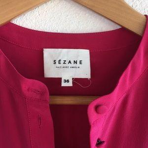 SEZANE Simple Chic Silk Shirt Dress